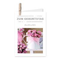 Minikarten Zum Geburtstag alles Liebe6001 Living Home mit Holzklammer