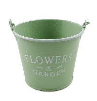Eimer Flowers & Garden, Metall GRÜN  19377 10x8x7cm mit Bügel u.Holzgriff