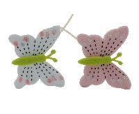 Schmetterlingstecker Filzi ROSA-WEISS 5x6cm Filz 17169