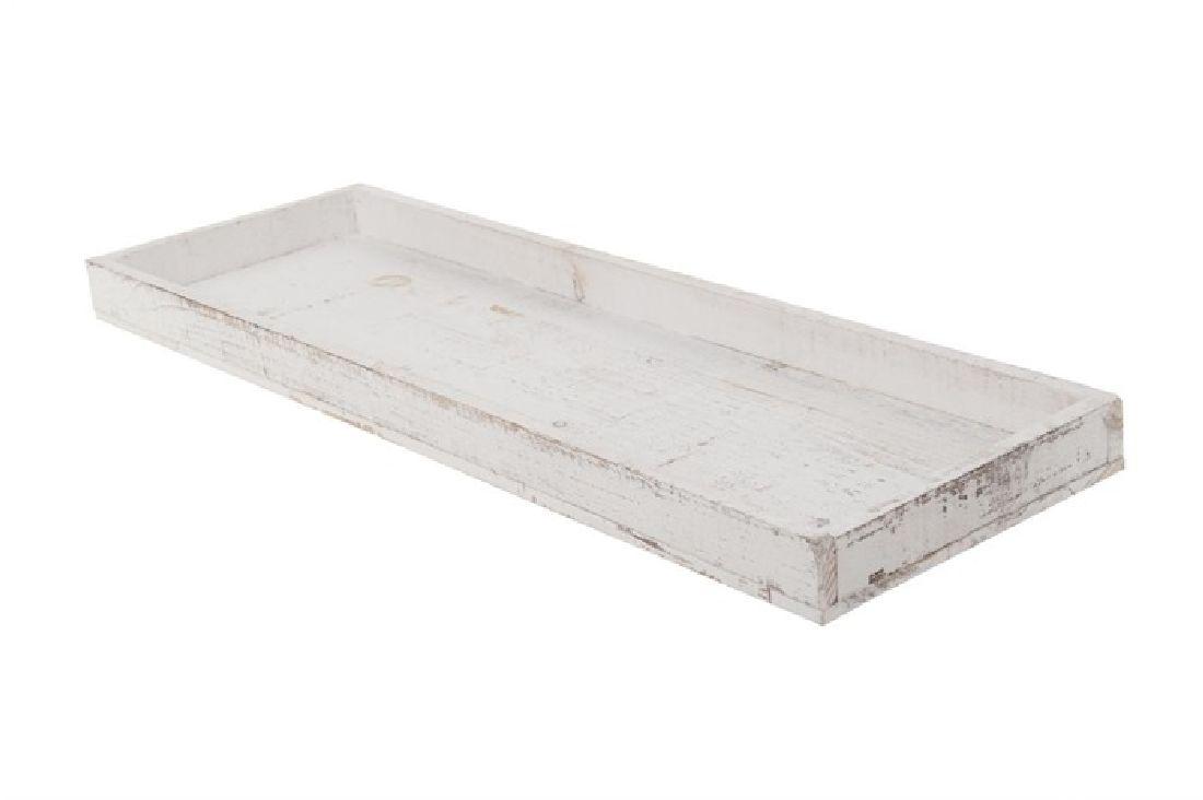 Dekotablett / Holztablett WEISS-WASHED  95333 60x20x4cm