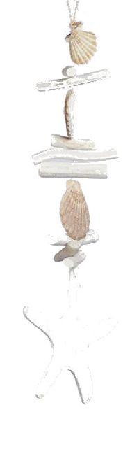 Fisch Sealine WEISS 42721 Holz+Muschel Seestern Girlande Länge=58cm