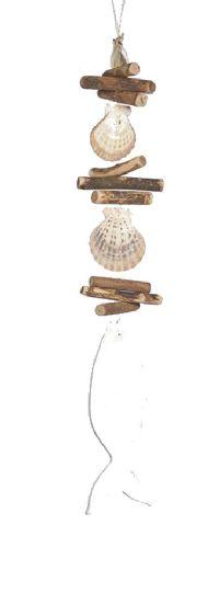 Fisch Sealine Natur-WEISS 42721 Holz+Muschel Fisch Girlande Länge=58cm