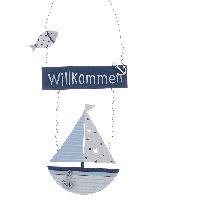 Türhänger Segelboot Willkommen BLAU 73904 Holz/Metall 13cm Länge:30cm mit Spruch
