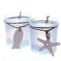 Teelichtglas Maritim BLAU-GEFROSTET 2er Sortierung Ø7xH8cm Seestern, Fisch 70470