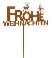 Rostschild FROHE WEIHNACHTEN ROST  490367 Stecker 35xH18,5cm + 98cm Stab