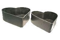 Herz-Schale Kunststoff GRAU-SCHWARZ 54405026 S/2  22cm+26cm