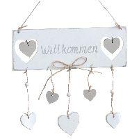 Holzschild Willkommen mit Herz Vintage weiss-taupe  70274 22x7,5x32,5cm (LxBxH)