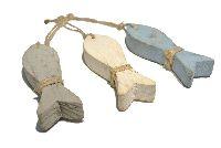 Holzfisch Hänger blau-grau-weiss  612815 10x3x1,7cm (LxBxH)