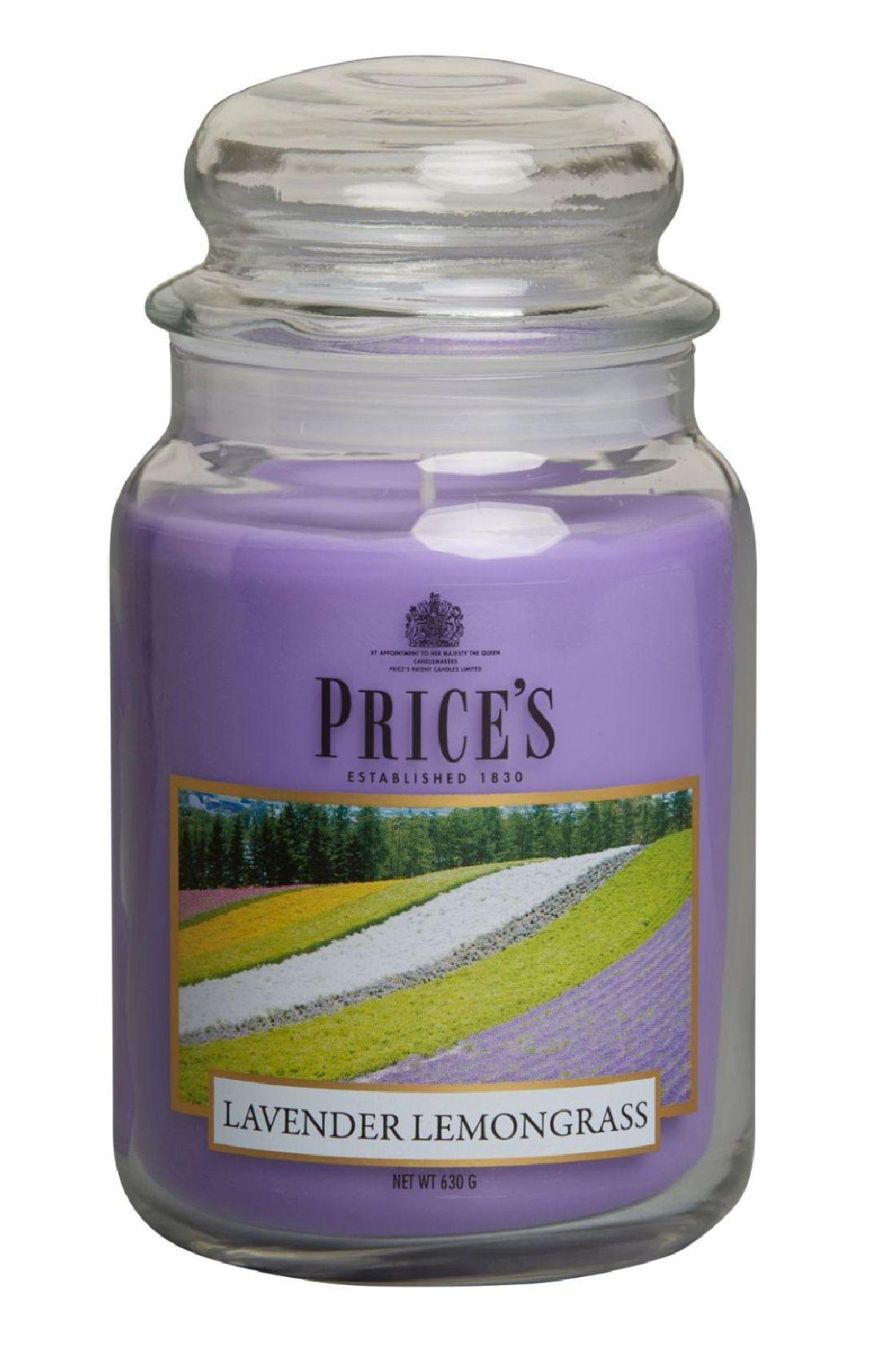 Duftkerze Price´s Candles LAVENDER LEMONGRASS im Glas Brenndauer: 110-150 h