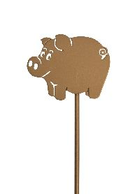 Glücksschwein am Stab GOLD 46meg01 6x5cm + 20cm Stab  Metall