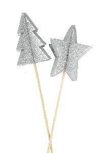 Stecker Sparkling 3D SILBER  20474326  Holz 6cm GL:55cm Stern+Baum