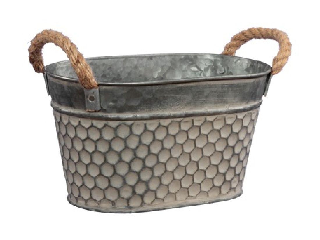 Metallschale Wabenmuster graubraun 358808 Jardiniere oval 26x16x13cm mit Seilhenkel