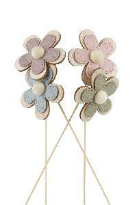 Blüte am Wippick zum Stecken altrosa-rosa-grün-blau21761301 Ø6cm GL:28,5cm Holz-Filz