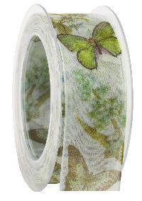 Band Schmetterlingspark grün 414a 53 formstab. Kante B:40mm L:20Meter
