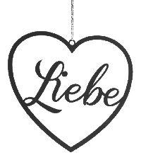 Herz Liebe SCHWARZ  43571 29x29cm Herz Hänger Metall