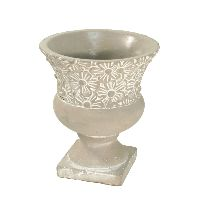 Topf Blumige Grüße GRAU-WEISS 26-465 Pokal Amphore Ø13xH16  Zement