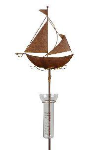 Gartenstecker mit Regenmesser rost 480357 Roststecker (Eisen Segelboot 25x26cm+100cmStab