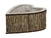 Pflanzherz Rinde NATUR 259400 21x15,5x9,5cm  Holz mit Folie