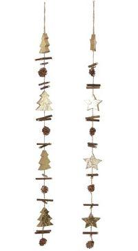 Girlande Golden X-MAS NATUR-GOLD 39794 Länge 72cm mit Stern oder Baum